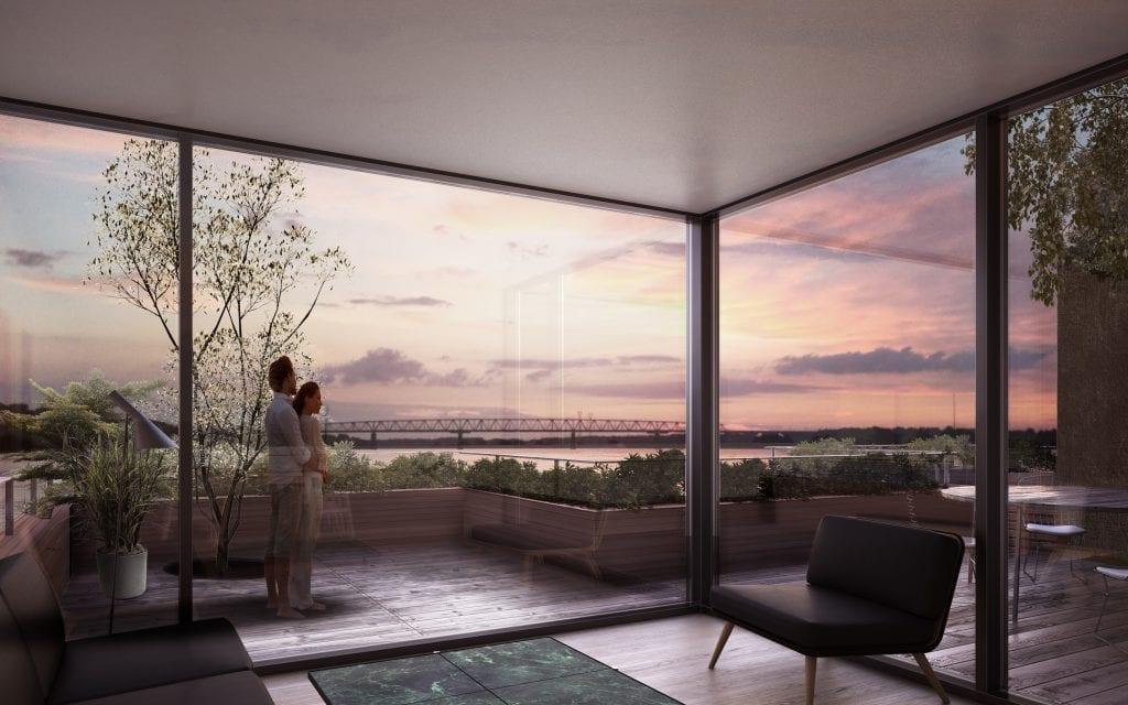 Terrassehusene får udsigt mod Den Gamle Lillebæltsbro. Illustration: Schmidt Hammer Lassen Architects